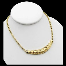 Signed Christian Dior Germany Woven Gold Plated Necklace