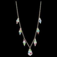 Marked Czech Rainbow Iris Glass Drop Necklace