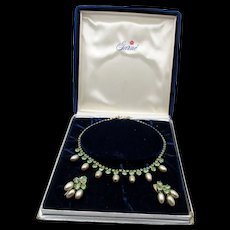 """""""Garne"""" Faux Peridot Rhinestone and Pearl Necklace and Earrings in Original box"""