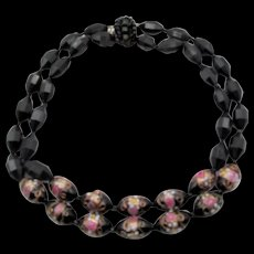 Black Glass Faceted Wedding Cake Double Strand Necklace