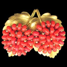 Vintage Gold Plated Leaf Faux Red Coral Brooch