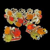 Glowing Yellow, Orange-Red Tulip Glass Enamel Bracelet and Earring Set