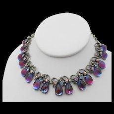 Stunning Florenza Blue Purple Bi-Color Glass Drop Necklace