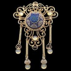 Signed Hobe Blue Pressed Glass Center Opalescent Rhinestone Drop Filigree Brooch