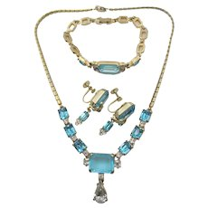 Azure Blue Glass Rhinestone Necklace, Bracelet and Earring Set 1940s