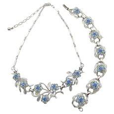 Coro Blue Rhinestone Floral Design Necklace, Bracelet and Earring Set