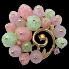 Signed Francois Pastel Hand-Blown Glass Brooch