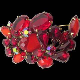 Unusual Signed Kramer Multi-shaped Glass Red Siam and Ruby Rhinestone  Brooch