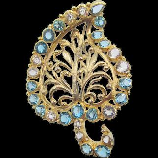 Hobe Filigree Blue Open Back Rhinestone Leaf Design Brooch