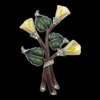 Early Coro Calla Lily Enamel Rhinestone 3.5 Inch Brooch