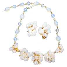 Rare Kramer Opalescent Blown  Glass Rhinestone Necklace and Earring Set