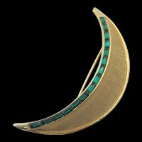 Weiss Emerald Green Baguette Rhinestone Channel Set Crescent Brooch