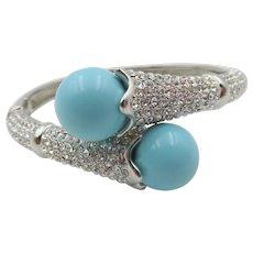 Faux Turquoise and Rhinestone Clamp Bracelet