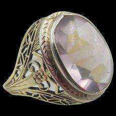 Art Nouveau 14k Gold Amethyst Filigree Ring