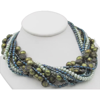 Gorgeous Ciner Freshwater Pearl Multi-strand Torsade Necklace