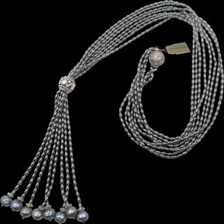 CINER Vintage Hematite Freshwater Tassel Pearl Necklace