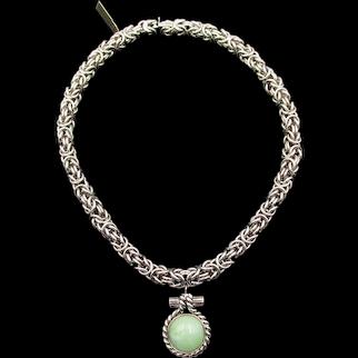 Ciner Vintage Byzantine Chain Green Pendant Necklace