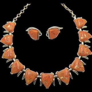 Coro Orange Confetti Thermoset Necklace and Earring Set