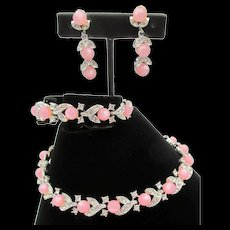 Lisner Pink Moonstone and Diamante Crystal Necklace, Bracelet and Earring Set Parure