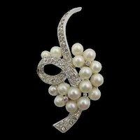 Vintage Jomaz Faux Pearl and Crystal Rhinestone Brooch