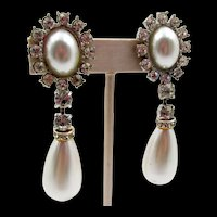 Vintage Lawrence Vrba Faux Pearl and Rhinestone Drop Earrings
