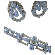 Vintage Blue Milk Glass and Rhinestone Bracelet & Drop Earrings