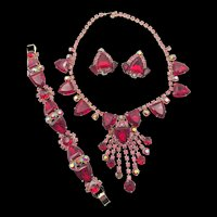 Gorgeous Red Triangle Rhinestone Cascade Necklace, Bracelet and Earring Parure Set