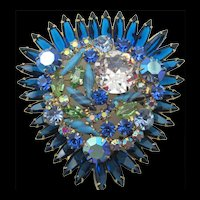 Fabulous DeLizza & Elster Juliana Starburst Blue Navette, Turquoise, and Crystal Rhinestone Brooch