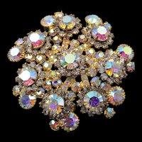Sparkling DeLizza & Elster Juliana Aurora Borealis Pinwheel Floral Layered Brooch