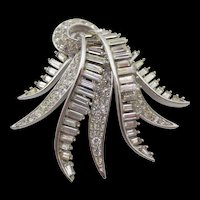 Marcel Boucher 6979 Baguette Crystal Rhinestone Cascading Brooch
