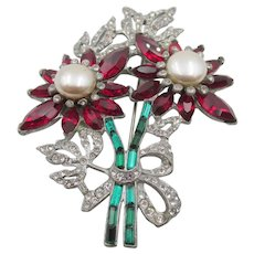 Gorgeous Red Green Crystal Rhinestone Large Floral 1940s Brooch