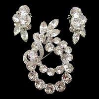 Sparkling Crystal Rhinestone Eisenberg Brooch and Earring Set