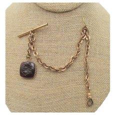 Antique Victorian Gold Filled Watch Chain Greek God Reverse Intaglio Glass Fob