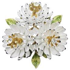Whimsical White Chrysanthemum Trembler Trio Enamel Brooch