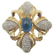 Vintage Castlecliff Maltese Cross Sapphire and Crystal Rhinestone Brooch