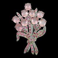 1940s Pink Open-back Rhinestone Floral Bouquet Brooch