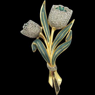 Vintage 1940s Coro Adolph Katz Rhinestone Enamel Double Tulips Trembler Brooch