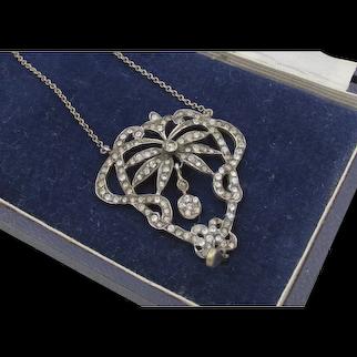 Stunning Edwardian Sterling French Paste Rhinestone Necklace
