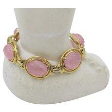 Wonderful Mazer Bros. Pink Poured Glass Cabochon Link Bracelet