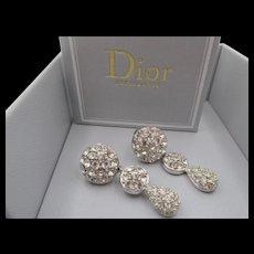 Glamorous Christian Dior Crystal Rhinestone Drop Earrings
