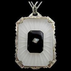 Vintage Art Deco Crystal Onyx Camphor Glass Silver-tone Pendant Necklace
