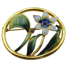 Lovely Signed CORO Flower Picture Frame Enamel and Rhinestone Brooch - 1940s