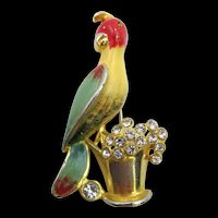 Early 1940s Signed Coro  Enamel and Crystal Clear Rhinestone Parrot Brooch