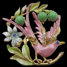 Colorful 1930s Pink and Green Enamel and Jade-Green Cabochon Gold-Tone Perched Bird Brooch