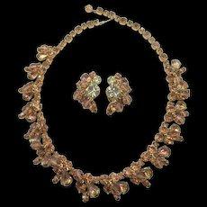 Kramer Of New York Topaz and Citrine Beaded Rhinestone Necklace and Earring Set