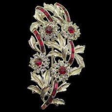Vintage Coro Red Baguette Rhinestone Floral Cluster Brooch