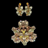 Gorgeous Weiss Topaz and Yellow Rhinestones Layered Brooch and Earrings