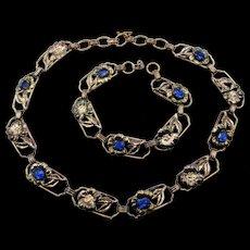 Art Deco Signed 12k Gold over Sterling Floral Link Sapphire Blue Rhinestone Necklace and Bracelet