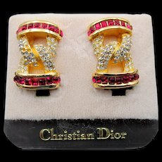 Gorgeous Christian Dior Gold Plated Red and Crystal Rhinestone Earrings