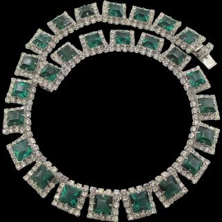 Dazzling Kramer Of New York Green and Crystal Rhinestone Necklace